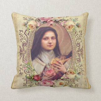 St. Therese the Little Flower Roses Crucifix Cushion
