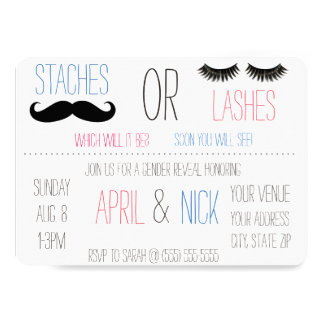 Staches or Lashes Gender Reveal Invitation