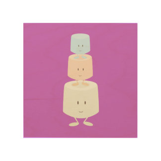 Stack of smiling marshmallows wood wall art