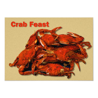 "Stack of Steamed Crabs Crab Feast 5"" X 7"" Invitation Card"
