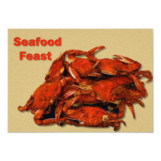 "Stack of Steamed Crabs Seafood Feast 5"" X 7"" Invitation Card"