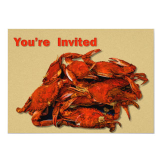 "Stack of Steamed Crabs You're Invited 5"" X 7"" Invitation Card"