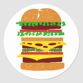 Stacked Triple Burger Classic Round Sticker