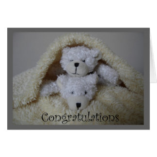 stacked twin bears congratulations greeting card