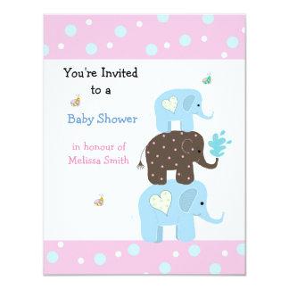 Stacking Elephants Baby Shower Invitation