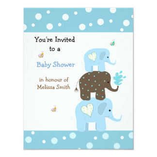Stacking Elephants Baby Shower Invitation