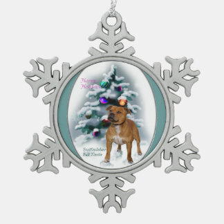 Staffordshire Bull Terrier Christmas Pewter Snowflake Decoration