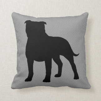 Staffordshire Bull Terrier Silhouette Throw Pillow