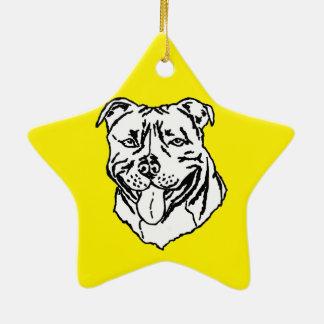 Staffordshire Bull Terrier STAFFY Ceramic Star Decoration