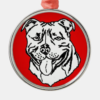 Staffordshire Bull Terrier STAFFY Silver-Colored Round Decoration