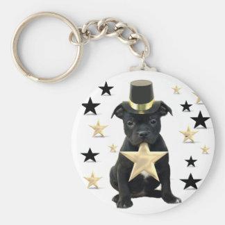 Stafforfshire bull terrier puppy key ring
