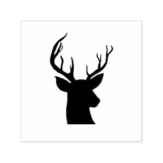 Stag Antler Rustic Country Drawing Self-inking Stamp