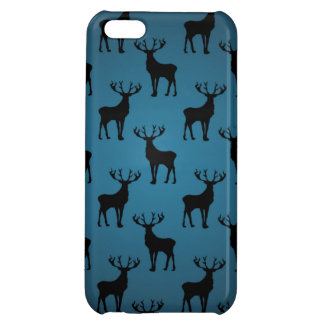 Stag Deer Silhouette on Blue iPhone 5C Cover
