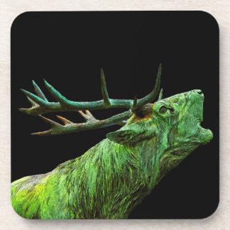 Stag Reindeer Head - Green, Black Back Coaster