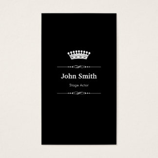 Stage Actor Elegant Royal Black White Business Card