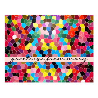 Stained Glass Abstract Vivid Rainbow Candy Mosaic Postcard