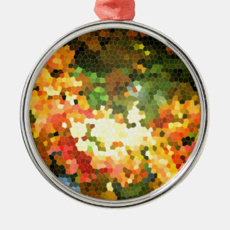 Stained Glass Autumn Maple Leaves Orange Yellow Christmas Ornament