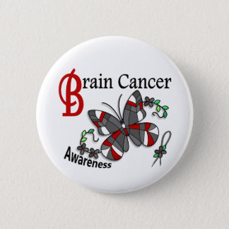 Stained Glass Butterfly 2 Brain Cancer 6 Cm Round Badge