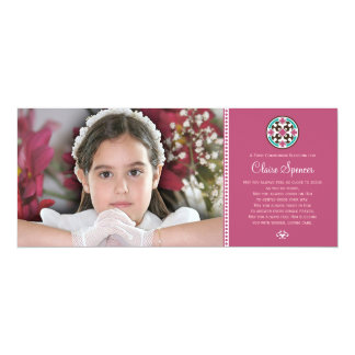 Stained Glass Holy First Communion Photo Keepsake 10 Cm X 24 Cm Invitation Card