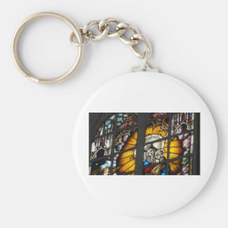 Stained Glass Jesus and Virgin Mary Basic Round Button Key Ring