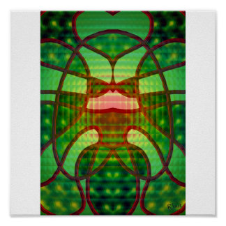 Stained glass with red piping (2) - poster