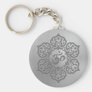 Stainless Steel Effect Floral Aum Graphic Key Ring