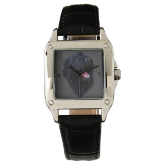 stalin dog Custom Perfect Square Black Leather Watch