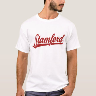 Stamford script logo in red T-Shirt