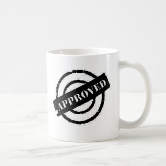 stamp approved black coffee mug