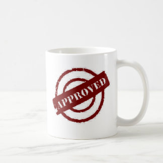 stamp approved red coffee mugs
