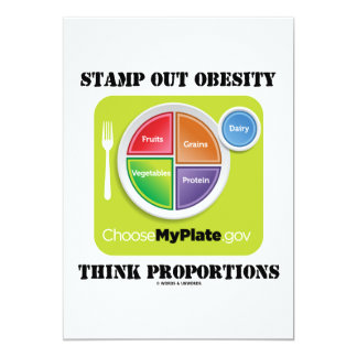 Stamp Out Obesity Think Proportions (MyPlate) 13 Cm X 18 Cm Invitation Card
