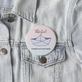 Stand With Refugees Ombre Doodle Paper Boat Name 7.5 Cm Round Badge