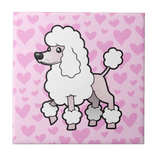 Standard / Miniature / Toy Poodle Love (show cut) Small Square Tile
