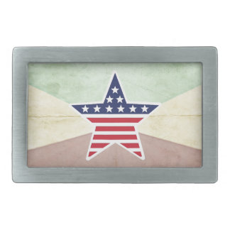Star American Flag on Vintage Background Belt Buckle