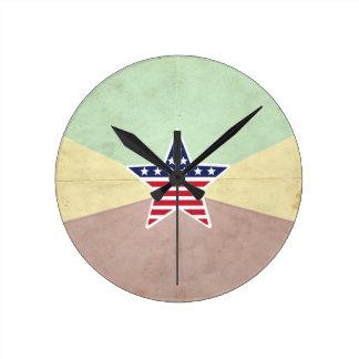 Star American Flag on Vintage Background Wallclock