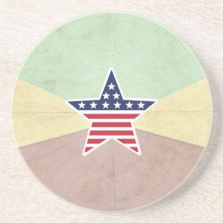 Star American Flag on Vintage Background Drink Coasters