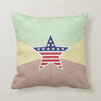 Star American Flag on Vintage Background Pillow