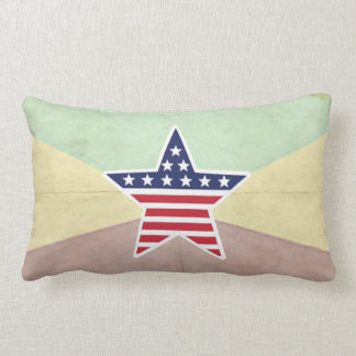 Star American Flag on Vintage Background Throw Pillow