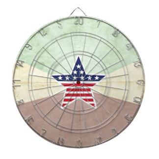 Star American Flag on Vintage Background Dartboard