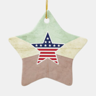 Star American Flag on Vintage Background Christmas Tree Ornament