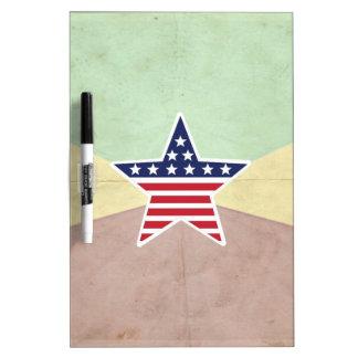 Star American Flag on Vintage Background Dry Erase Board