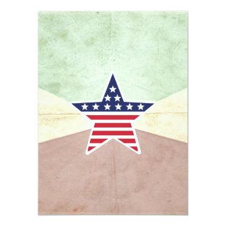 Star American Flag on Vintage Background Custom Invites