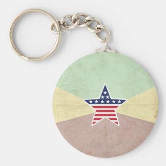 Star American Flag on Vintage Background Keychains