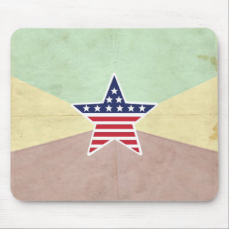 Star American Flag on Vintage Background Mouse Pads