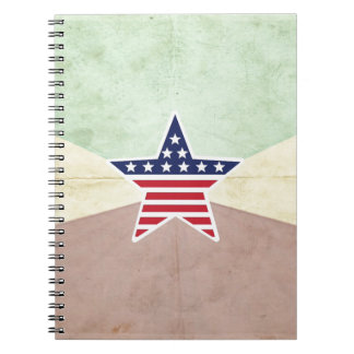 Star American Flag on Vintage Background Note Book