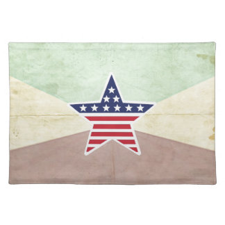 Star American Flag on Vintage Background Place Mats