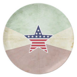 Star American Flag on Vintage Background Party Plate