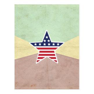 Star American Flag on Vintage Background Post Card