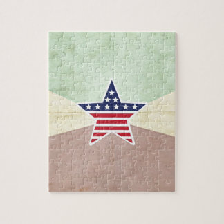 Star American Flag on Vintage Background Jigsaw Puzzles