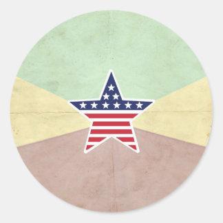 Star American Flag on Vintage Background Round Sticker